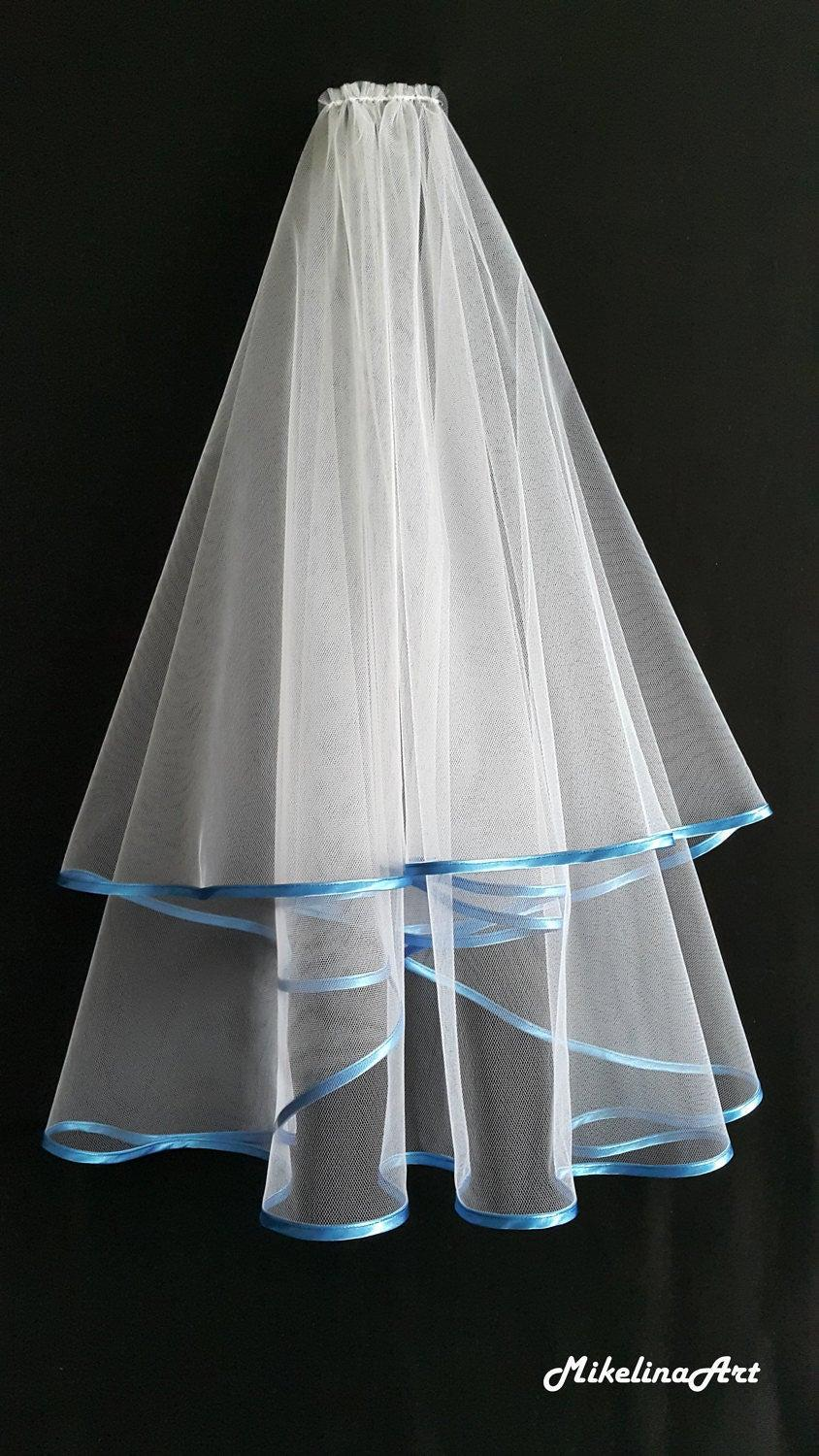 Hochzeit - White Wedding Veil, Two Layers, Riverside Blue Colour Satin Edging.