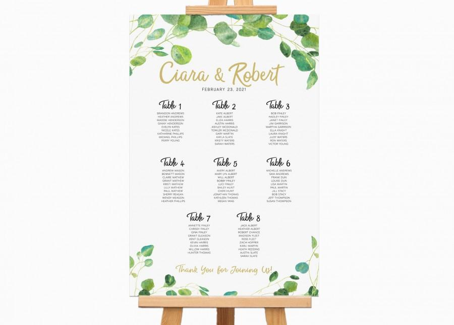 Свадьба - Rehearsal Dinner Decorations,  Eucalyptus Watercolor Seating Chart Table Assignment, Garden Wedding Reception Seating Plan, Digital File