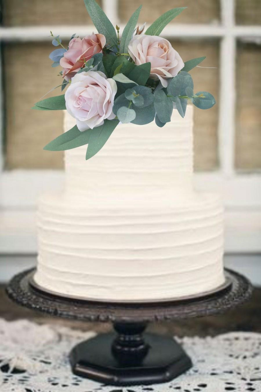 Wedding - Champagne Gold Blush Pink Silk Wedding Cake Topper