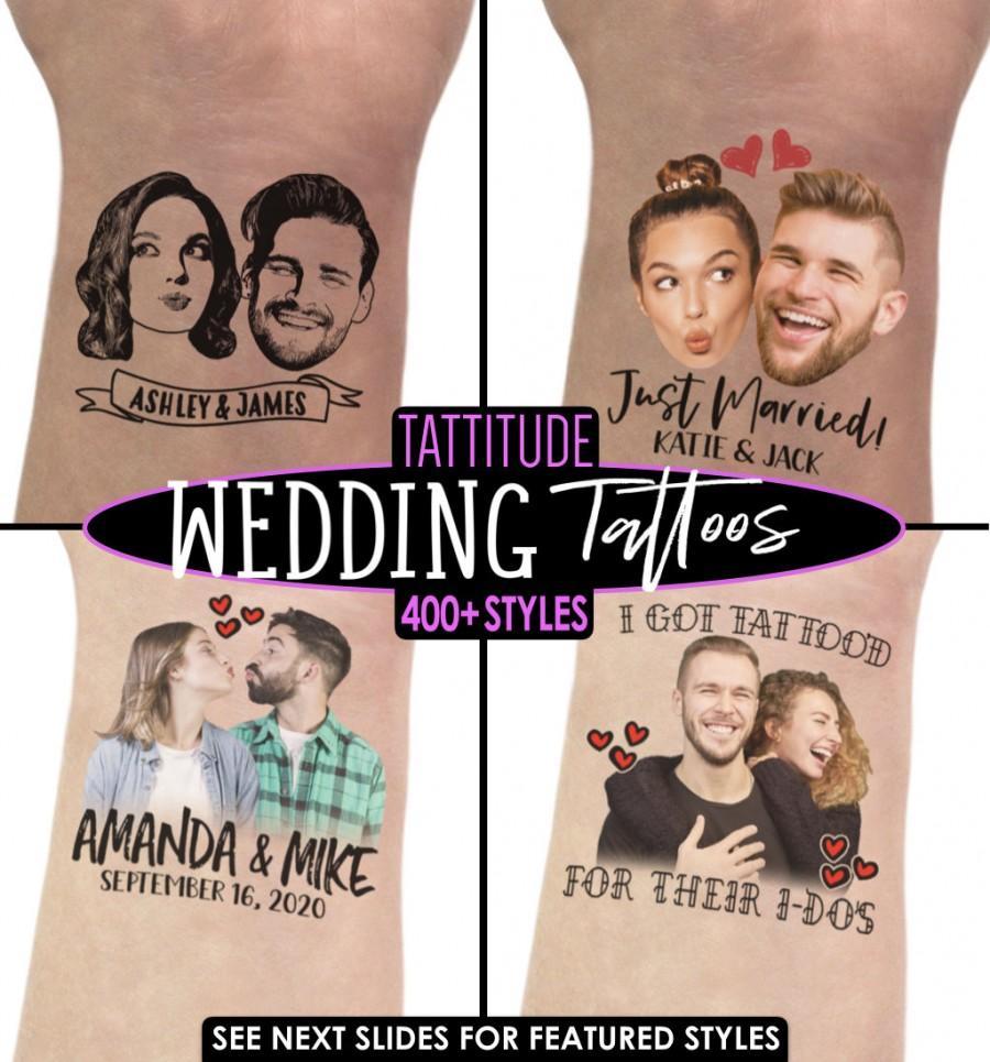 Wedding - PHOTO TEMPORARY TATTOO, Custom Face Tattoo, Photo Temporary Tattoo, Couple Tattoo, Bride Tattoo, Wedding Favors, Face Tattoo, Wedding Tattoo
