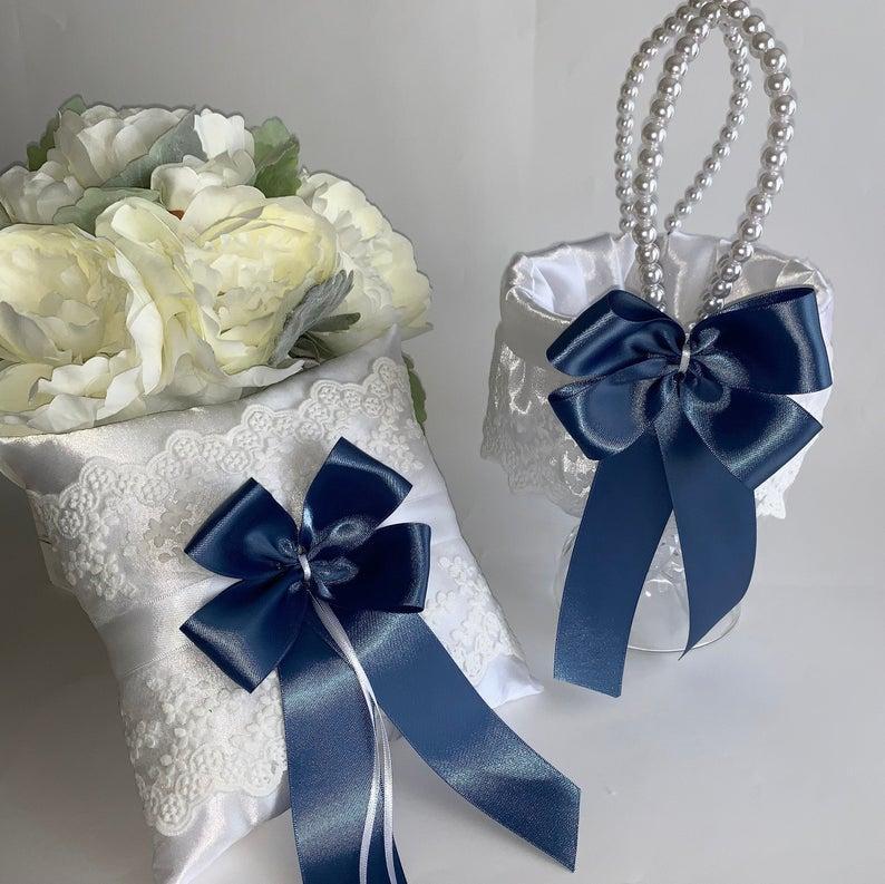 Wedding - Steel blue flower girl basket, steel blue ring bearer pillow, wedding flower girl basket, wedding ring pillow, CUSTOM COLORS