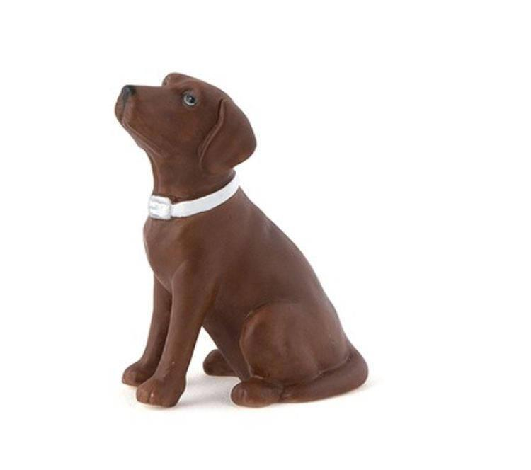 Mariage - Chocolate Lab Cake Topper - Brown Labrador Dog on Wedding Cake - Small Porcelain Figurine - MW16491