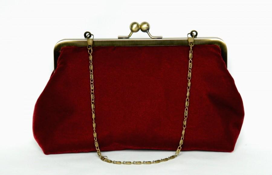 Mariage - Velvet Clutch Purse, Burgundy Red Velvet Clutch Bag, Clutch Purse, Wedding Clutch, Evening Velvet Clutch Bag, Ladies Gift, Handmade Bag