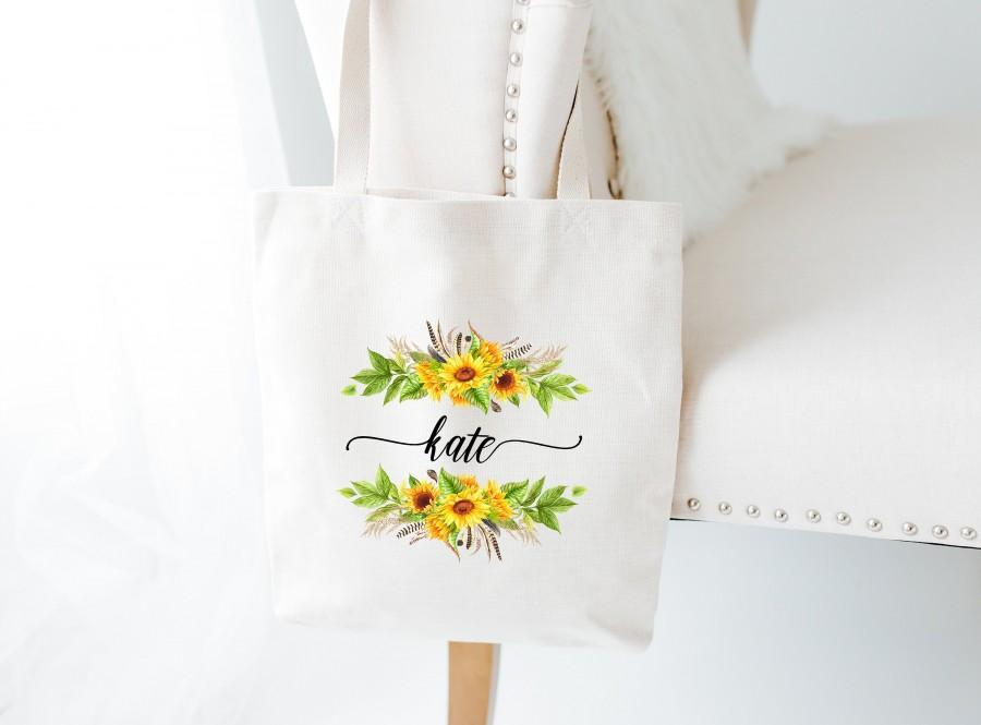 Hochzeit - Personalized Tote Bags-Wedding Welcome Bag-Sunflowers Bridal Party Bag-Personalized Bridesmaid Bagst-Bridesmaid Gifts-Wedding Guest Tote