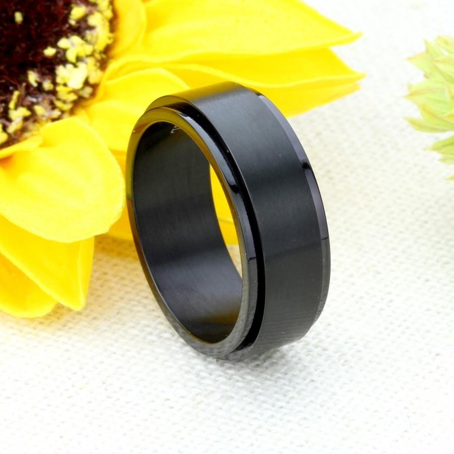 Hochzeit - Custom Engraving 8mm 316L Stainless Steel Ring Black Color Spinner Ring Band Gift box Ship from USA(BRSR-423)