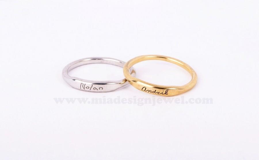 Hochzeit - 10%off:Personal Handwriting Ring/Mini Ring/Dainty engraving Ring-Sterling silver