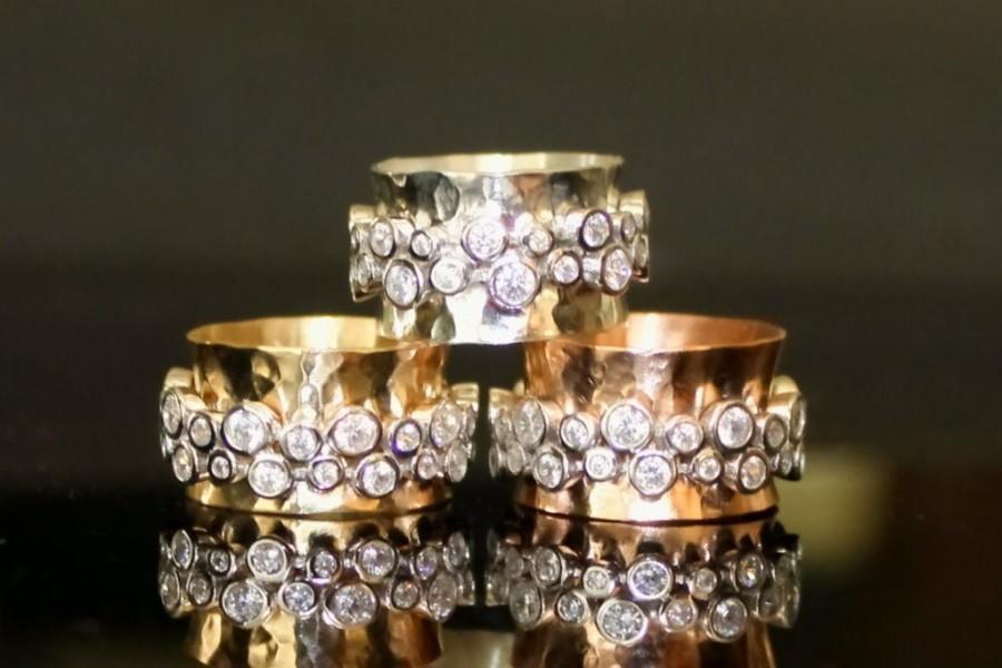 زفاف - gold spinner mediation ring, 10k yellow gold spinner, 14k yellow gold CZ spinner  - silver CZ spinner - glam spinner mediation ring