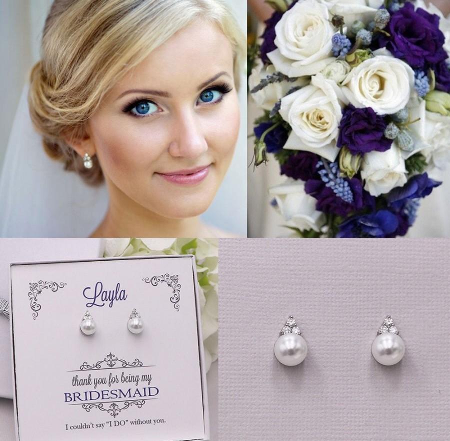 Mariage - Bridesmaid Earrings, Pearl Stud Earrings, Bridesmaids Gifts, Bridesmaid Jewelry Gift, Triple CZ pearl stud earrings, Madelyn CZ Earrings