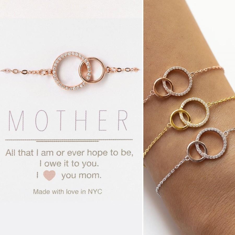 Mariage - Mother of the Bride Gift, Gift for Mom, Interlocking Circle Bracelet, Wedding Bracelet, B310-12
