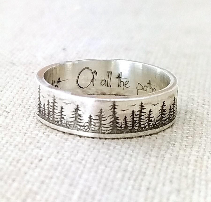 Hochzeit - Personalized Silver Ring - Gifts - Wedding Band - Forest Jewelry - Engraved Ring - Pine Tree Ring - Stocking Stuffer - Nature Accessories