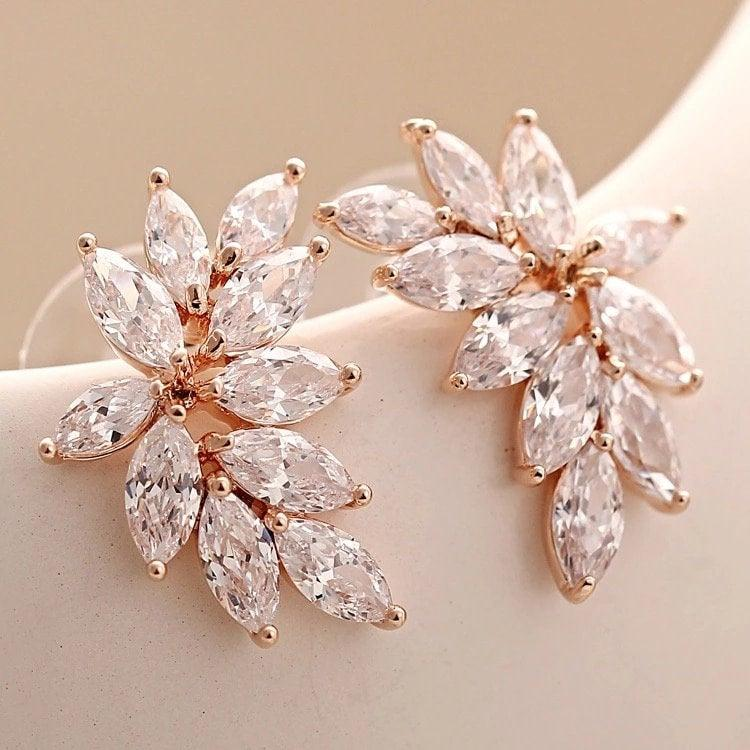 Mariage - Bridesmaid jewelry, CZ marquise earrings in rose gold, or silver, wedding earrings, bridal earrings
