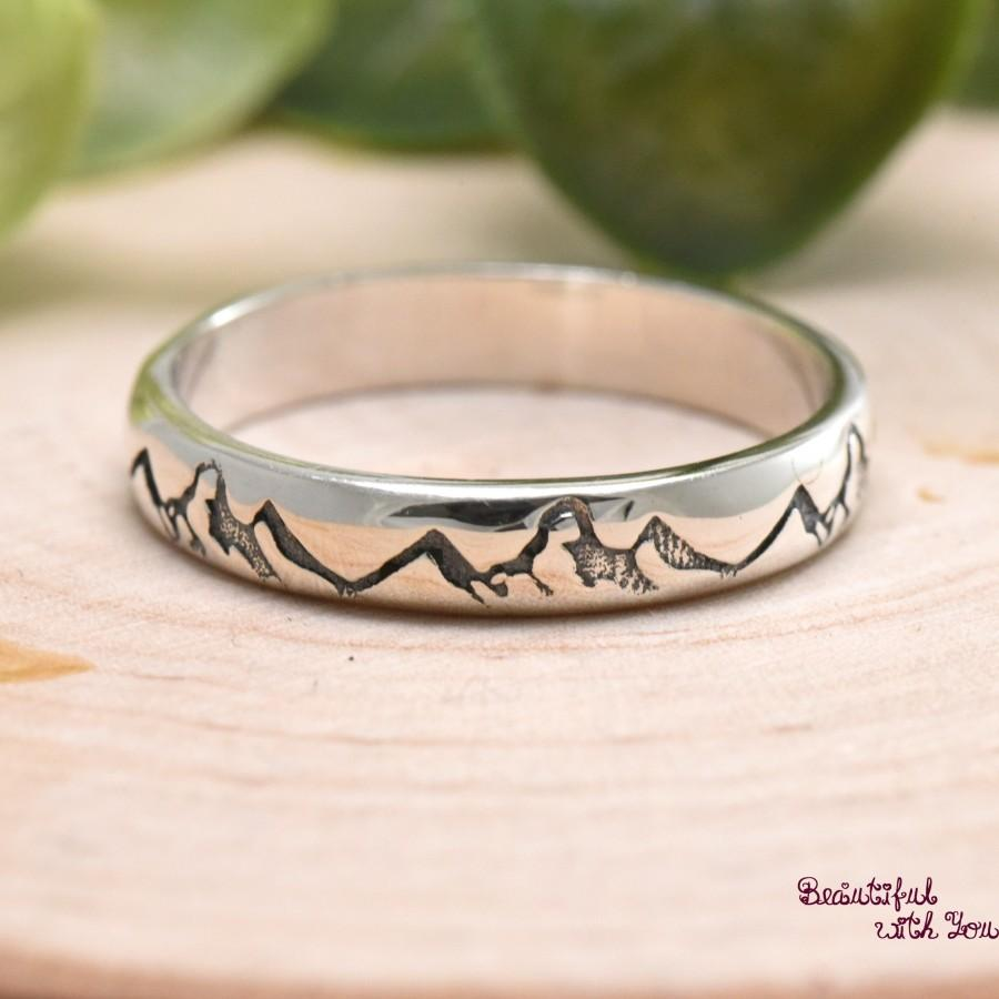 Свадьба - Mountain Engraved Unique 3mm Solid 925 Sterling Silver Band Wedding Ring Hikers High and Low Mountain Range Trendy Rings Womens Gift