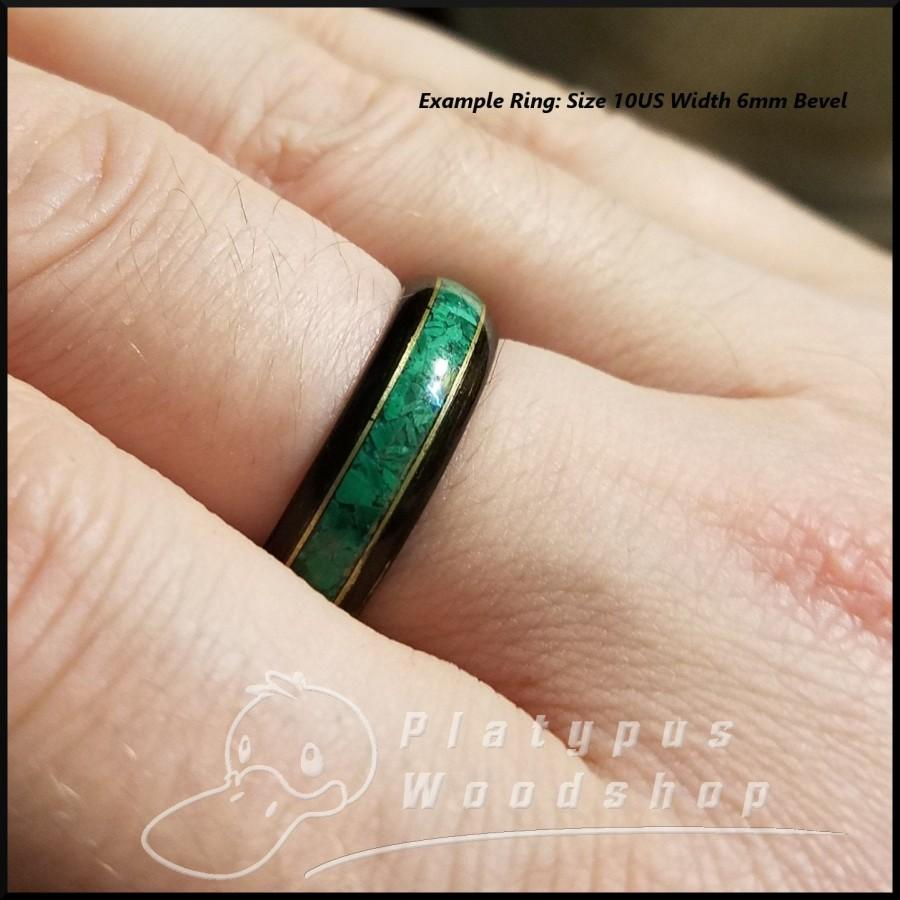 Свадьба - Wooden RIng - Morta - Bog Wood - Malachite - Bronze Edgework - Custom Ring