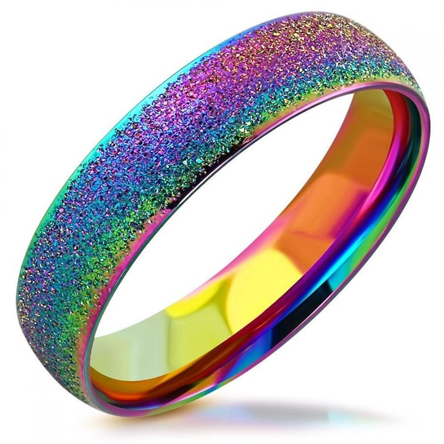 Hochzeit - Personalized Ring Personalized Ring 6mm Stainless Steel Rainbow Color Sandblasted Comfort Fit Band Ring- Free Engraving