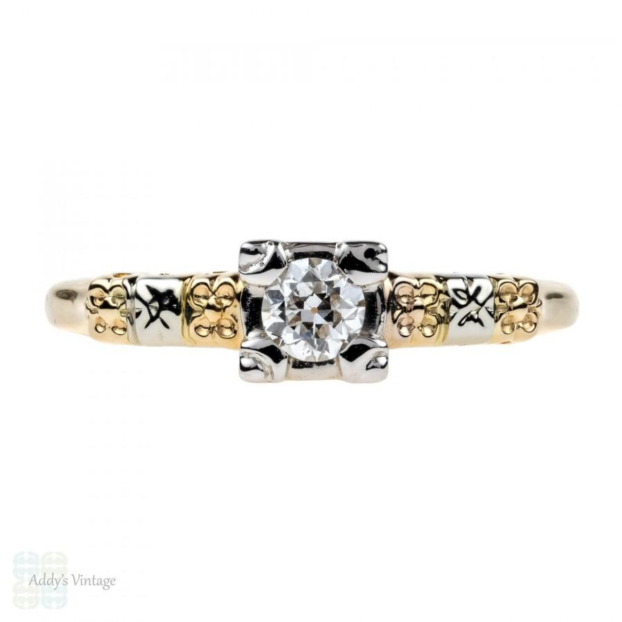 Hochzeit - Engraved Floral Engagement Ring, Old European Cut Diamond in 14K Gold. Circa 1930s.