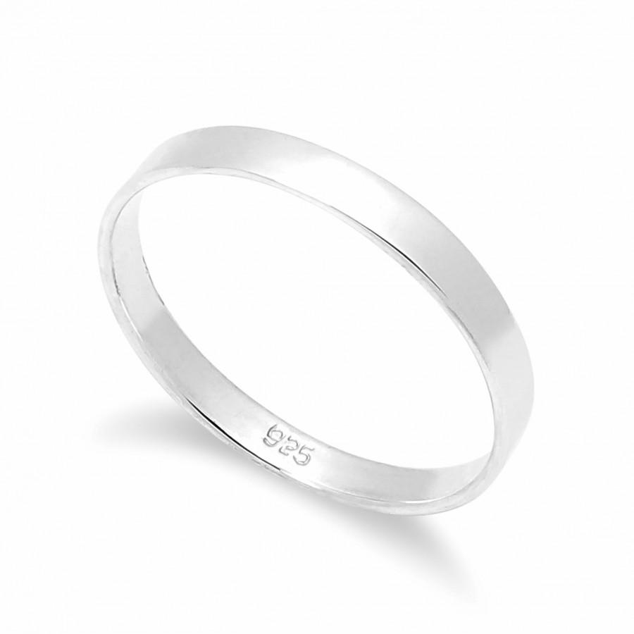 Hochzeit - Solid 925  Sterling Ring 3mm Flat  Band Ring in Sizes G-Z /20 Different Sizes Available