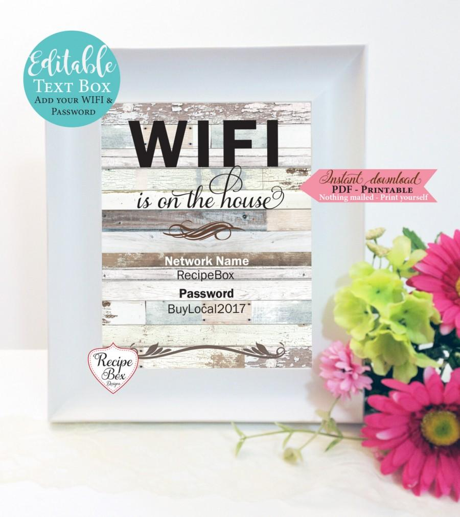 Hochzeit - WIFI Password Sign, Template Guest Room Sign Wi-Fi- SIgn, Printable, Print, Home Decor Be Our Guest, Internet password, Instant Download