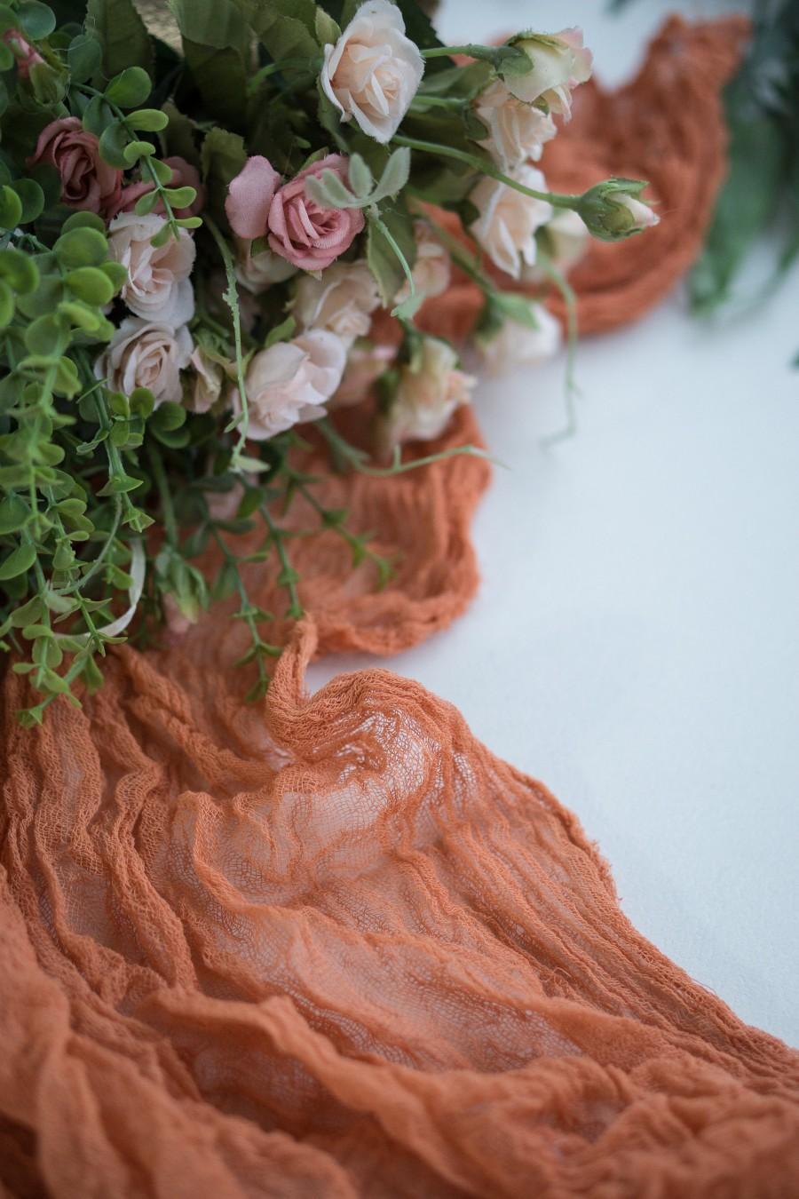 Hochzeit - Terracotta Wedding Gauze Table Runner, Cheesecloth Table Runner, Boho Table Runner, Gauze Party Decor, Boho Wedding Decor, Table Decorations
