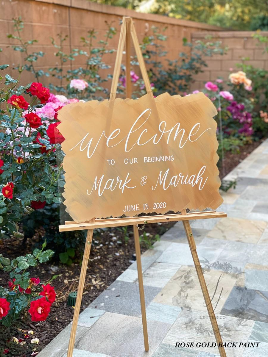 Mariage - Back Painted Acrylic Wedding Welcome Sign
