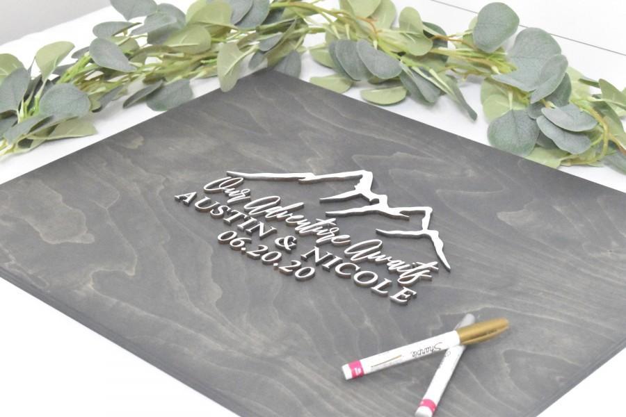 Hochzeit - 3D Wedding Guest Book Alternative - Our Adventure Awaits Guestbook - Wood 3D Guest Book Sign - Unique Wood Guestbook - Mountain Wedding Sign