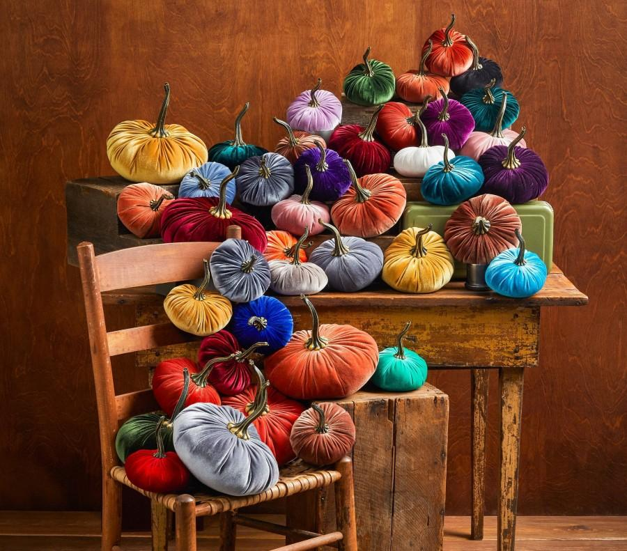 Wedding - Velvet Pumpkins Create Your Own Set of 3 Different Sizes and Colors, fall table centerpiece, trending home decor, rustic wedding decor