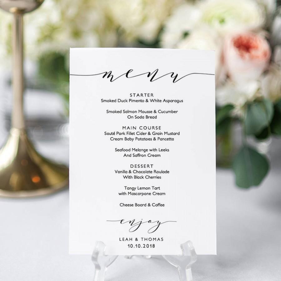 "Mariage - Wedding menu template, 5x7"", 4x9"" and 8x10"" menu. Printable menu card DIY templates. Edit, print, trim! ""Wedding"" FREE Corjl Demo"