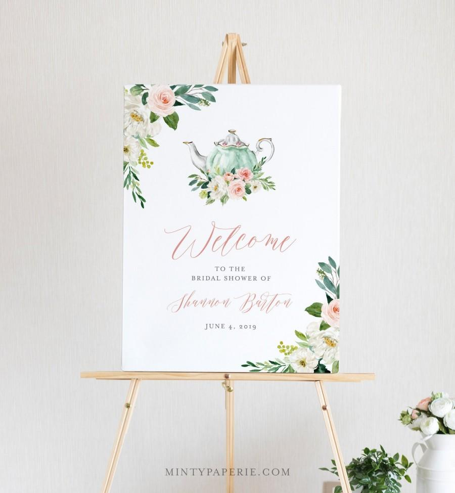 Wedding - Tea Party Welcome Sign Template, Printable Bridal Tea Shower Welcome Poster, 100% Editable Text, Instant Download, Templett, DIY #085-154LS
