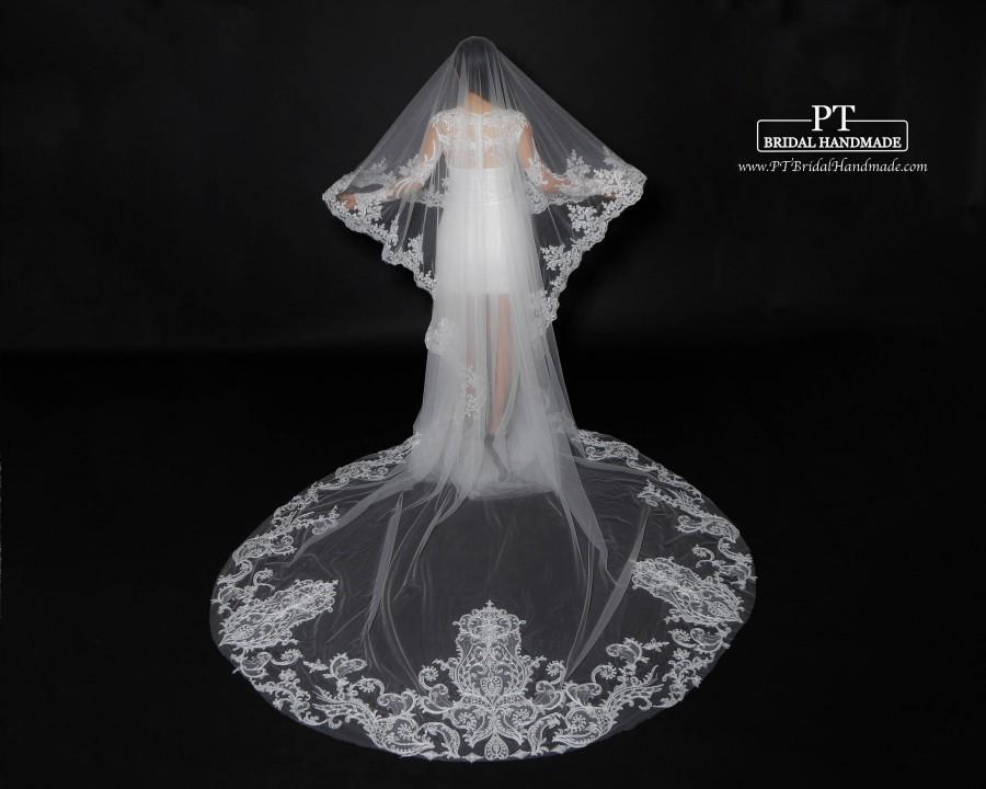 Свадьба - Cathedral Lace Wedding Veil #129, Wedding Veil Cathedral Veil, ,Lace Wedding Veil, Lace Veil,Cathedral Royal Veil,Church Veil, Blusher Veil