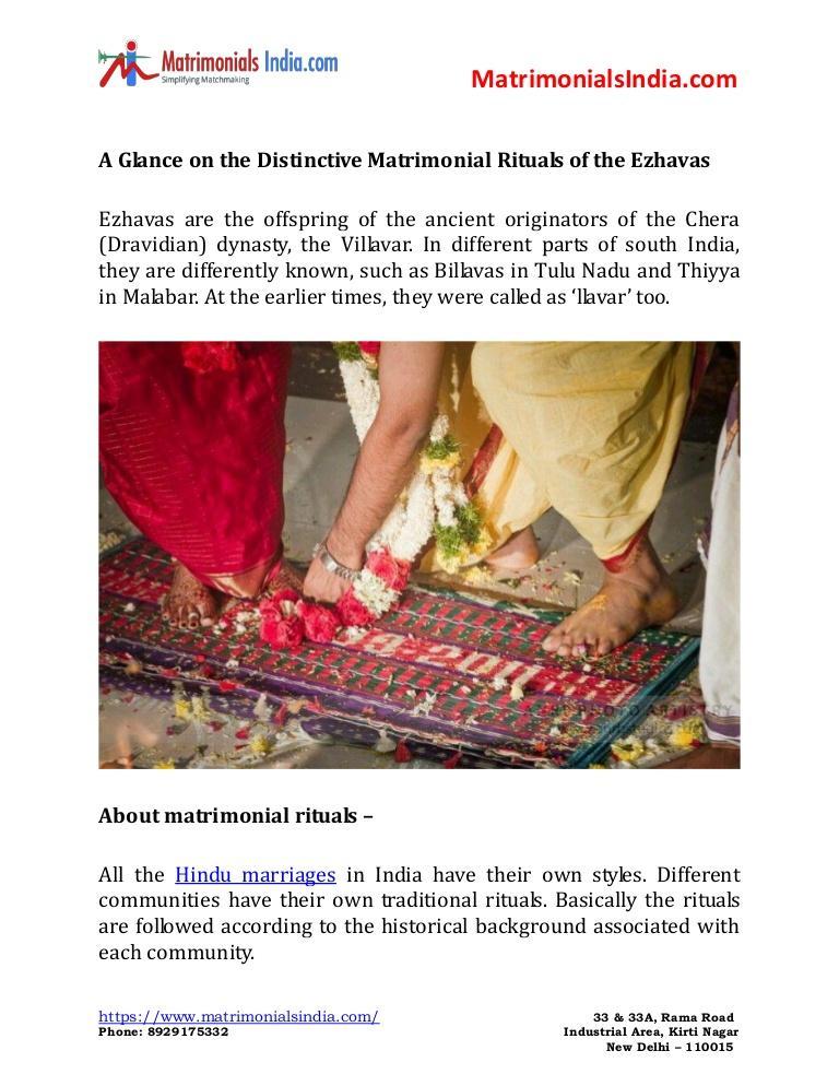 Wedding - A glance on the distinctive matrimonial rituals of the ezhavas