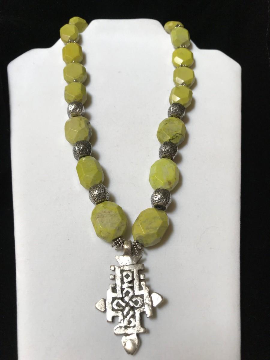 Wedding - Ethiopian Silver Coptic Cross Beaded Necklace