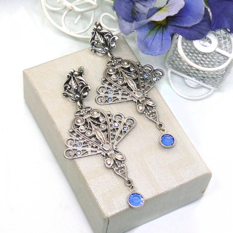 Wedding - Antique silver filigree earrings Art Deco dangle drop earrings Art Nouveau antique silver blue crystal earrings Crystal long drop earrings