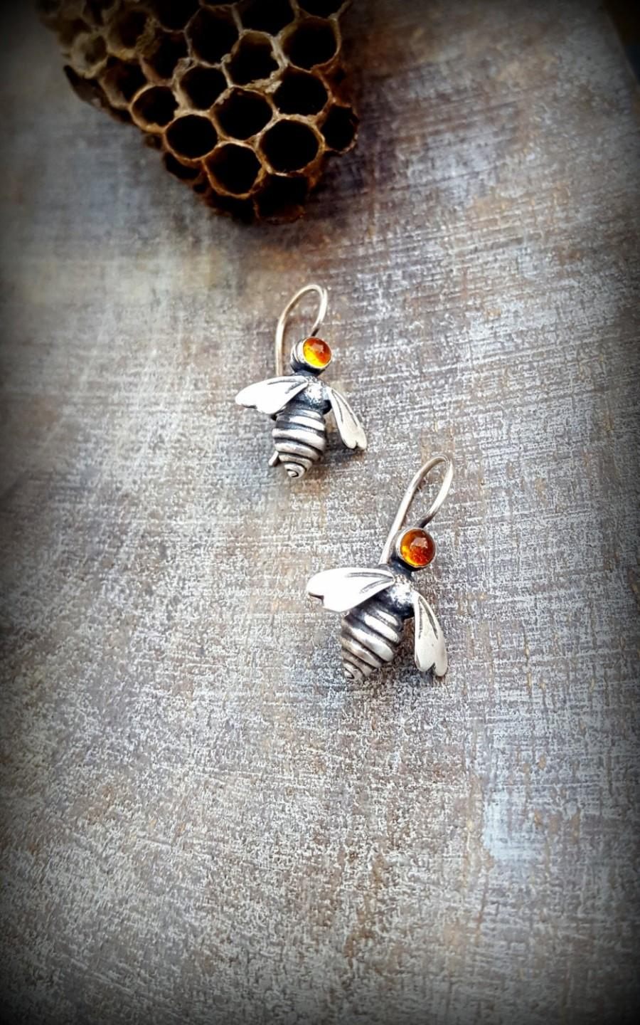 Свадьба - Citrine Earrings, Petite Silver Queen Bee Earrings, Cabochon set Bee Earrings, Small Bee Dangle Earring, Modern Citrine Silver Bee Earrings