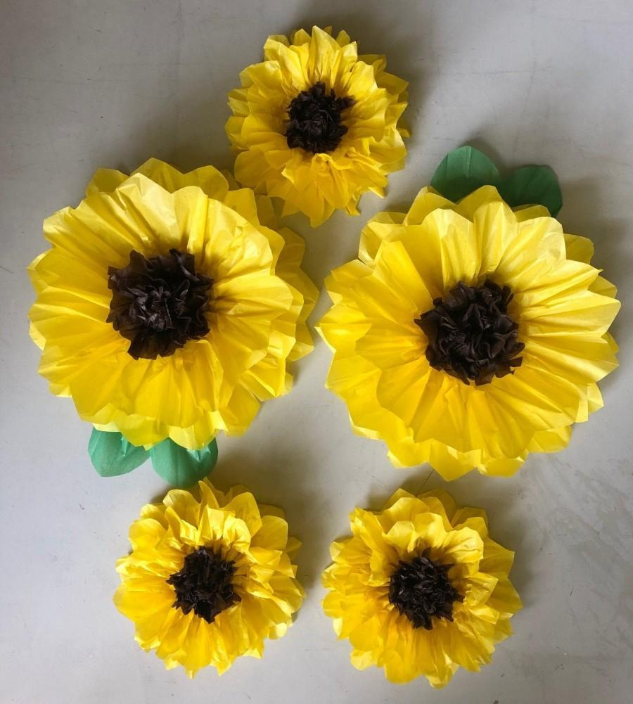 Hochzeit - Set of 5 Large Paper SunFlowers - Perfect Decorations for Wedding,Birthday Party&Baby Shower