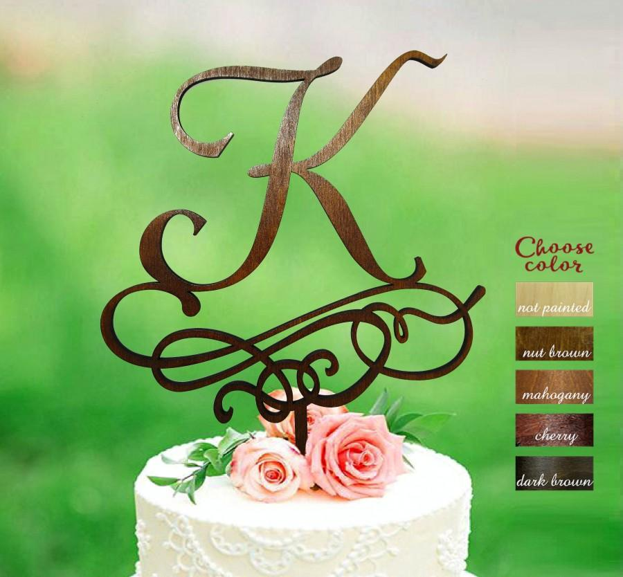 Hochzeit - Letter k cake topper, Wedding Cake Topper, Gold Initial Cake Topper, Single Letter, Rustic Cake Topper Wooden, Monogram Cake Toppers, CT#302