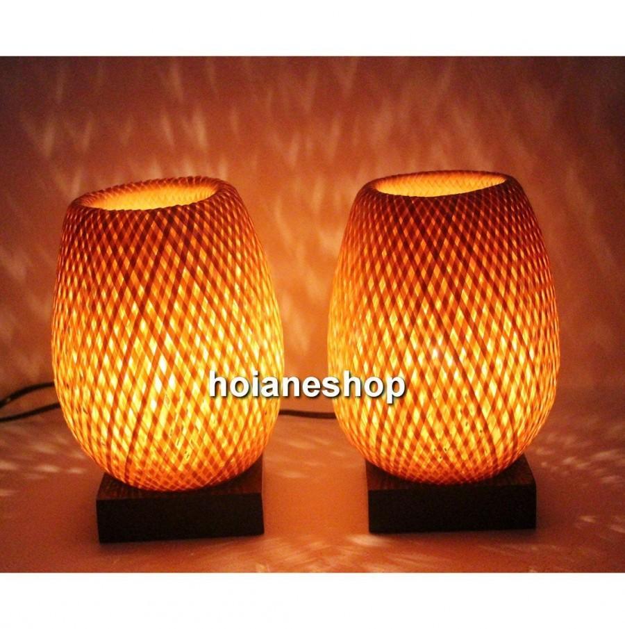 Свадьба - Set of 2 pcs bamboo lamp (20cm) for home decor - wedding decoration
