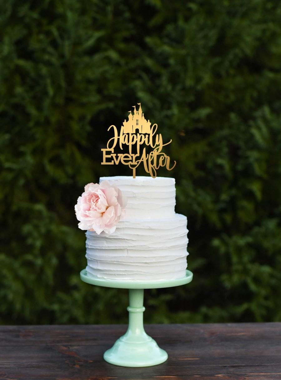 Hochzeit - Cinderella Cake Topper - Wedding Cake Topper - Happily Ever After Cake Topper with Castle