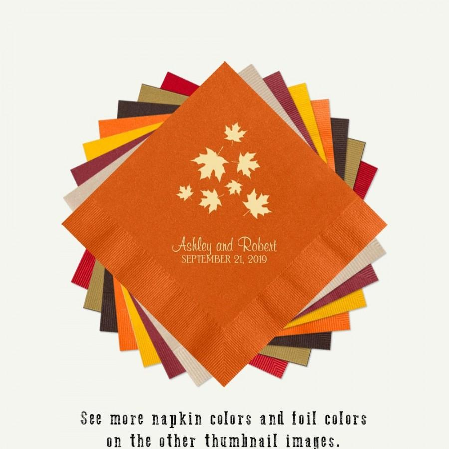 Mariage - Fall Wedding Fall Leaves Cocktail Napkins