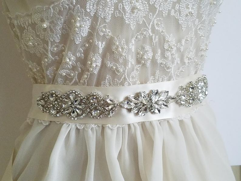 Mariage - Wedding Bridal Sash, Ivory Satin Rhinestone Belt, Wedding Dress Belt, Crystal Sash Belt, Bridal Sash Belt, Dress Sash, Wedding Ivory Belt
