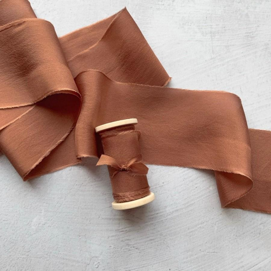 زفاف - CINNAMON Hand Dyed Silk Ribbon, Perfect for floral bouquets, invitations, rustic decor, wedding stationary, details photography styling