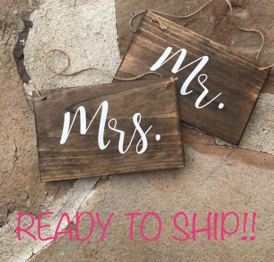 Свадьба - Mr. & Mrs. Chair Signs, Wooden Wedding Signs  - READY TO SHIP