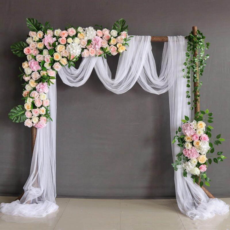 Hochzeit - Wedding Arch Champagne Roses Flower Wedding Garland Arch Wedding Flower Floral Arch Wedding Arch Fabric Drape wedding Arch Decor