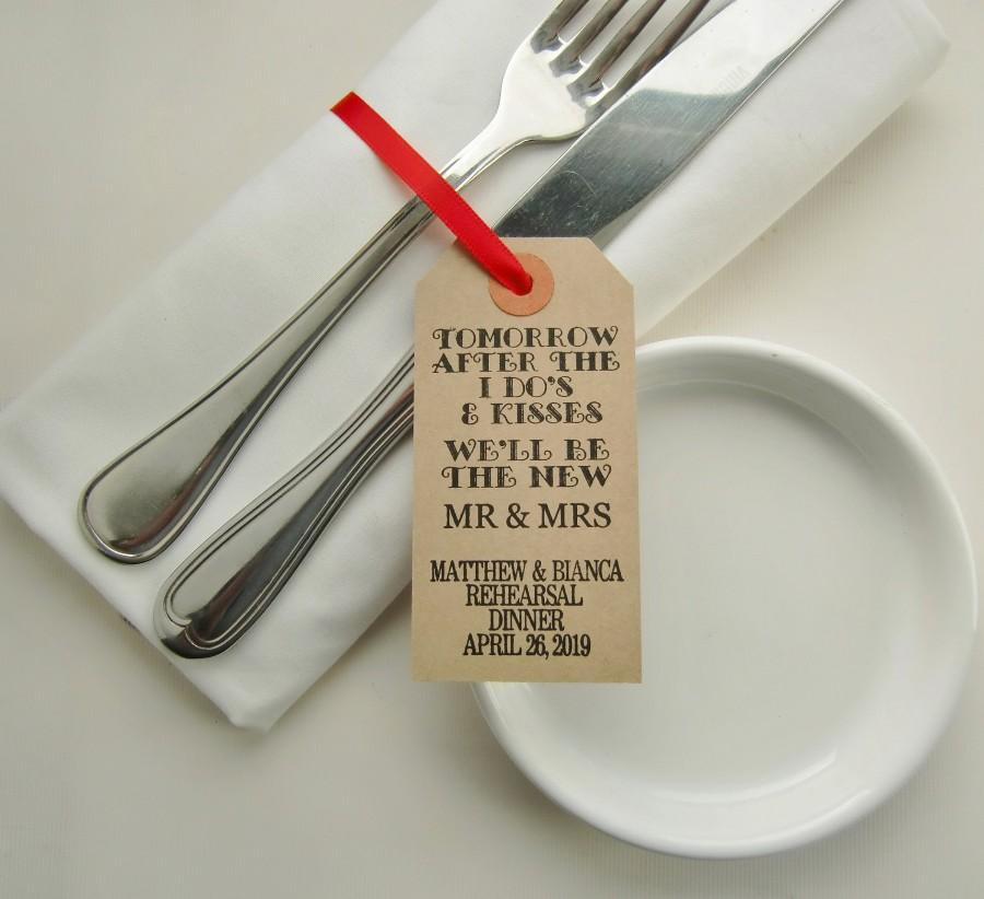 Hochzeit - Personalized Rustic Rehearsal Dinner Table Decor, Napkin Holder and Silverware Tags, Tomorrow After the I Do's,