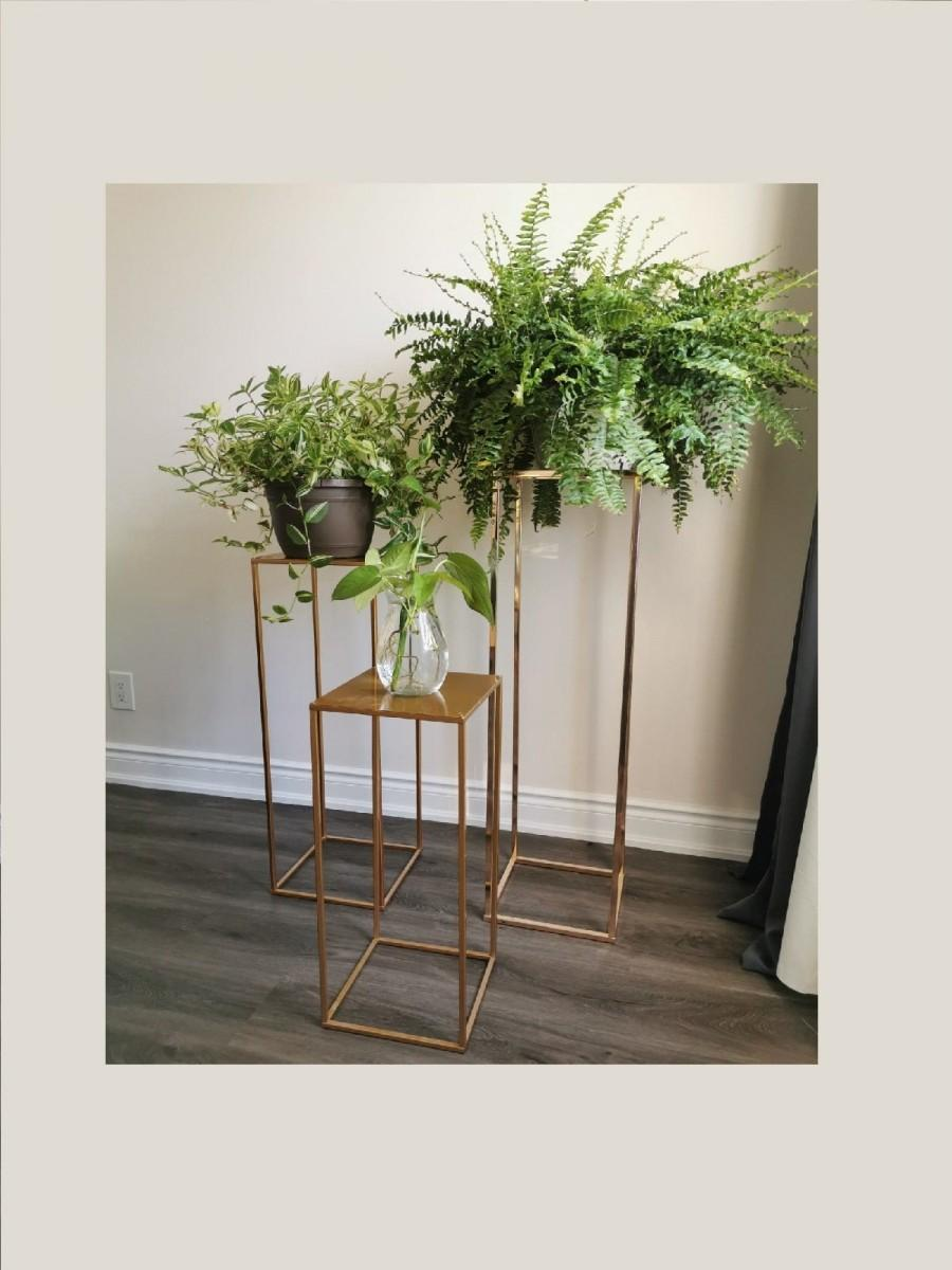 Hochzeit - Modern Plant Stand Rectangle Stand Metal Gold Geometric Vase/Metal Frame/ Tall Stand/ Four Rod Stand/Metal Vase/ Metal Vase/Metal Riser
