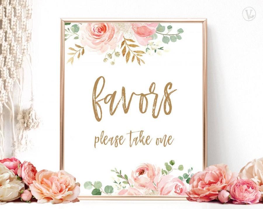 Wedding - Blush Pink Floral Favors Sign, Printable Favors Sign, Bridal Shower Favors Sign, Floral, Gold, VWC95