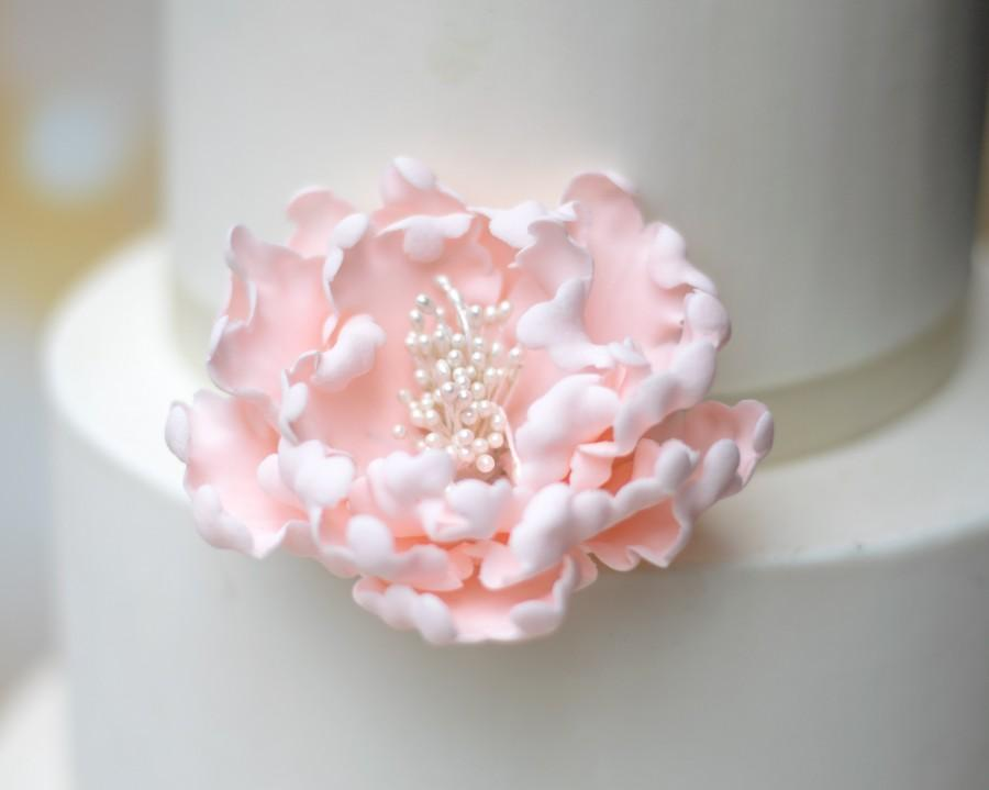 Mariage - Blush Pink Peony Sugar Flower - Unique Wedding Cake Topper - Gumpaste Flowers