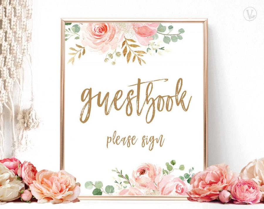 Свадьба - Blush Pink Floral Guestbook Sign, Printable Guest Book Sign, Bridal Shower Guestbook Sign, Floral, Gold, VWC95