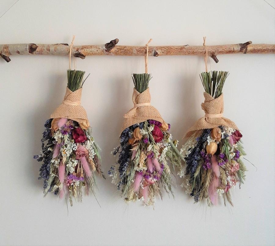Mariage - Lavender Roses Violet Dried meadow and garden flowers Summer Dry Floral Arrangement Dried Bouquet Farmhouse Decor Centerpiece Composition