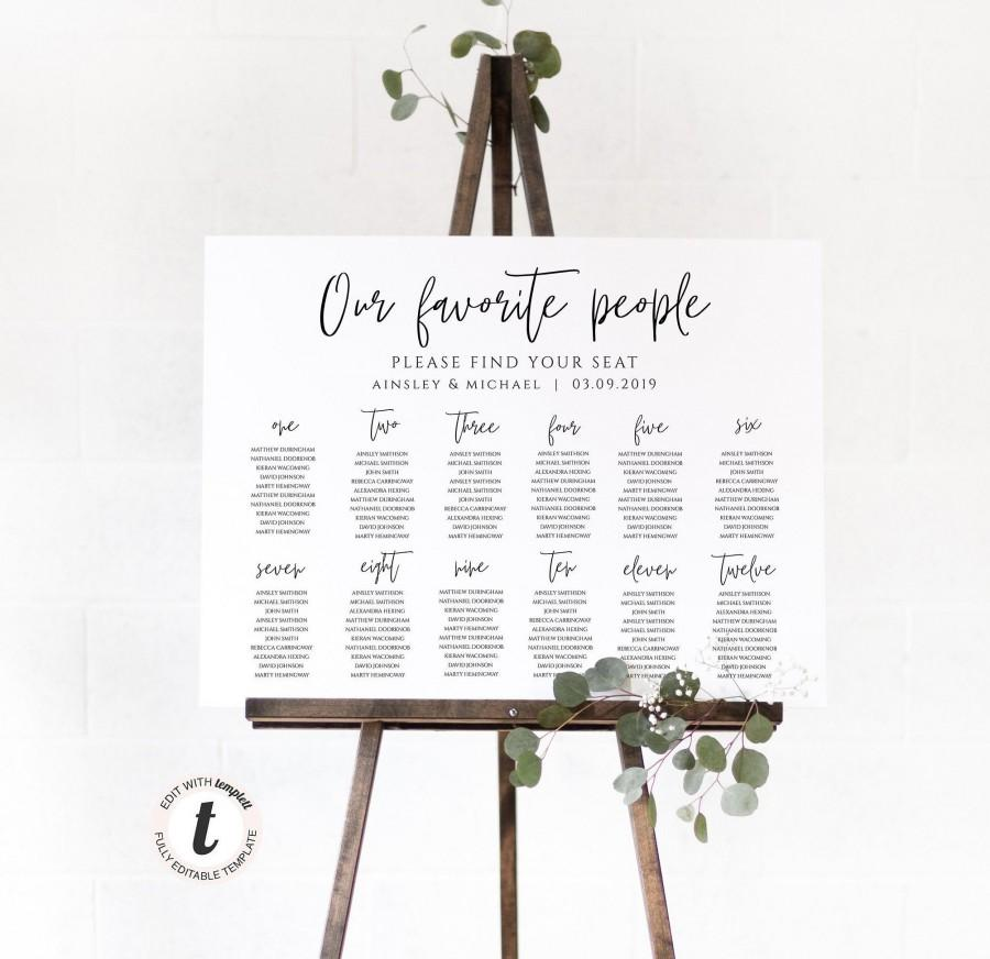 زفاف - Wedding Seating Chart Poster Template, Editable, Our Favorite People, Favourite, Instant Digital Download, Printable, Rustic, Boho BD-27