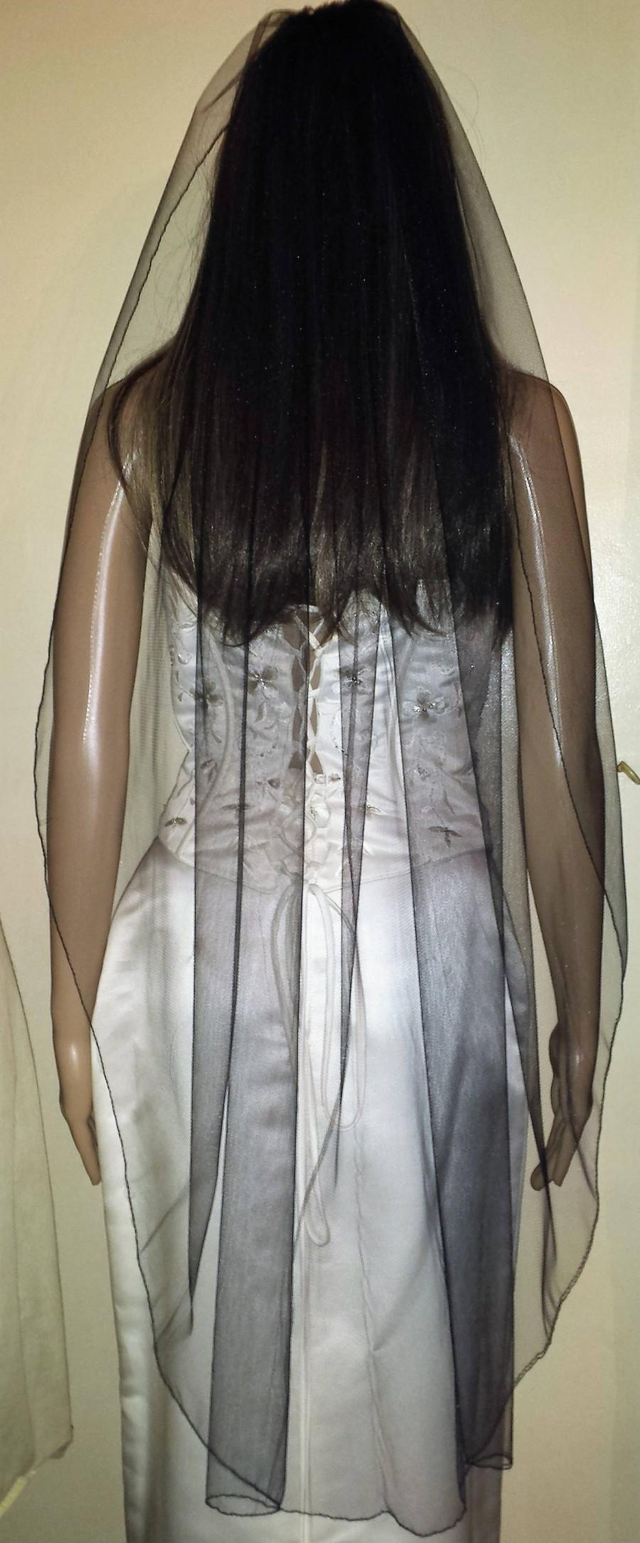 "Hochzeit - Black veil 42"" 1 Tier Gothic party Halloween wedding veil Fingertip length Pencil edged. FREE UK POSTAGE"