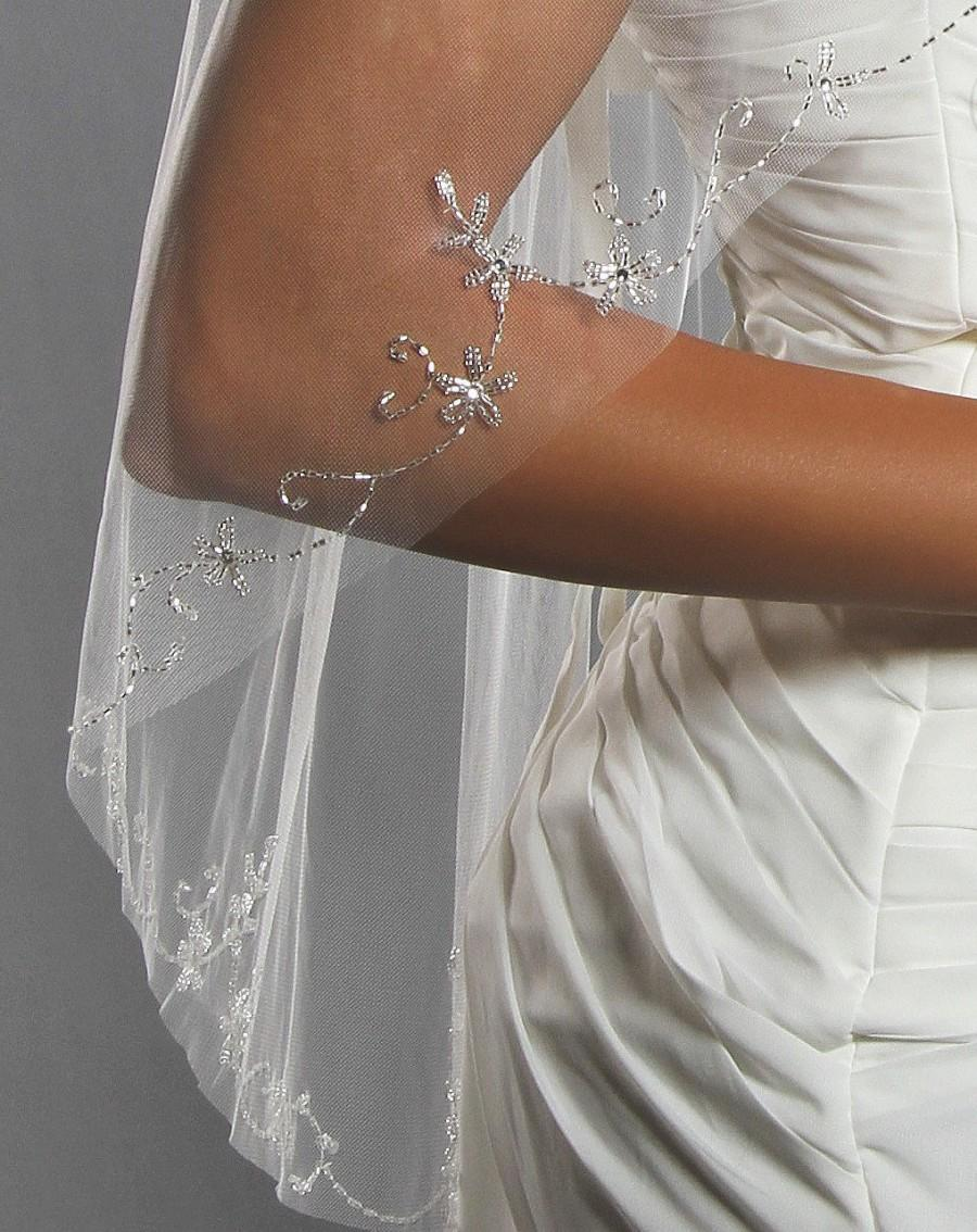 زفاف - Fingertip Beaded 1 Tier Wedding Veil - Fast Shipping!